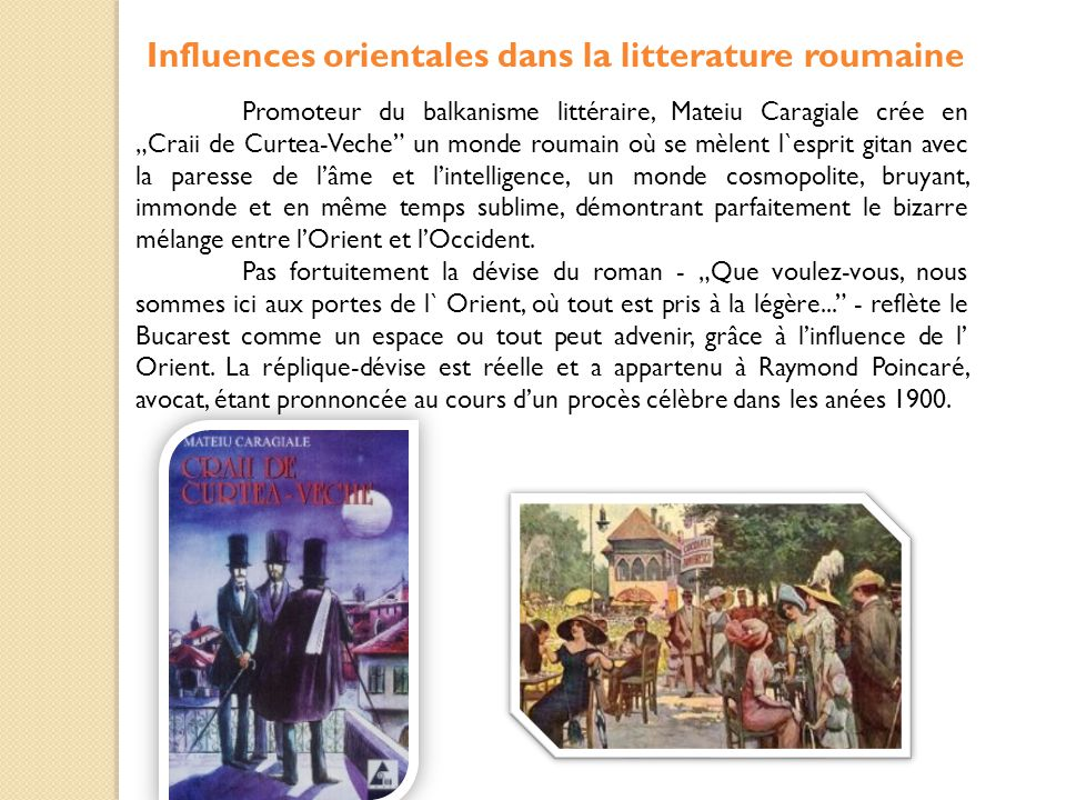 Influences orientales dans la litterature roumaine