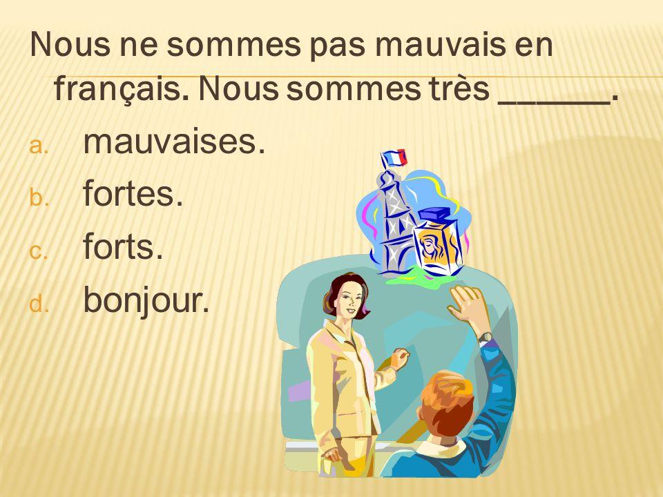 Nous ne sommes pas mauvais en français. Nous sommes très ______.