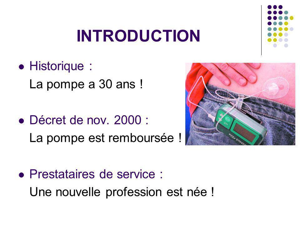 INTRODUCTION Historique : La pompe a 30 ans ! Décret de nov. 2000 :