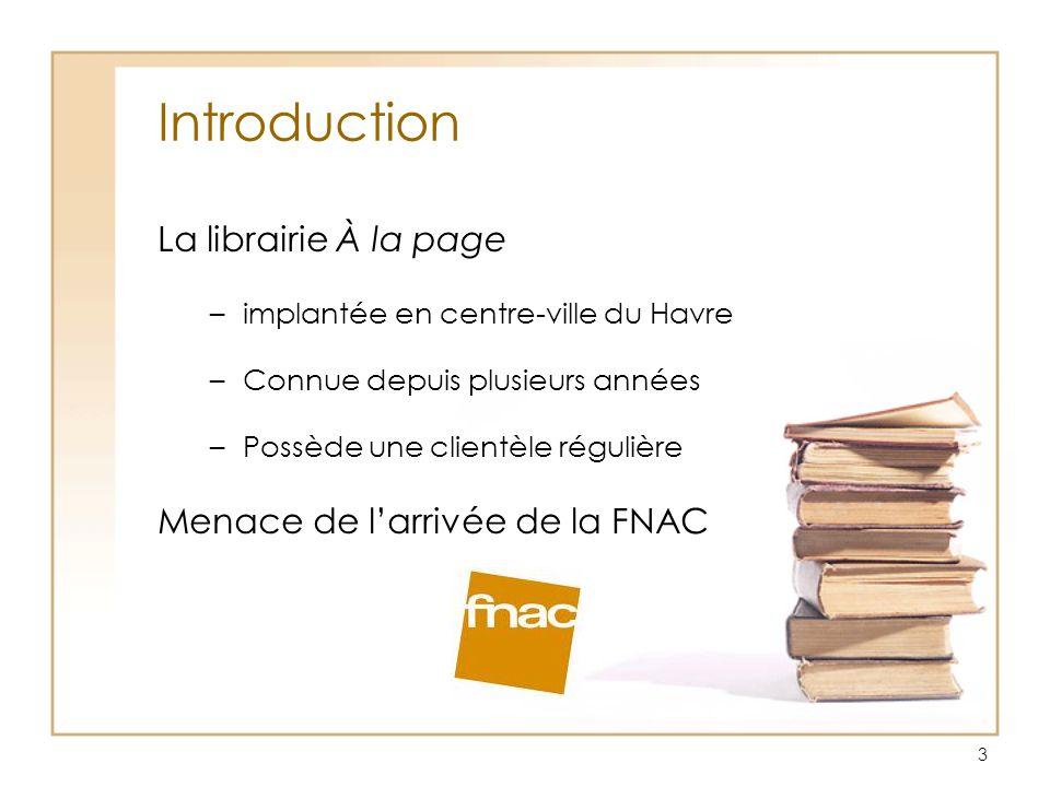 Introduction La librairie À la page Menace de l'arrivée de la FNAC