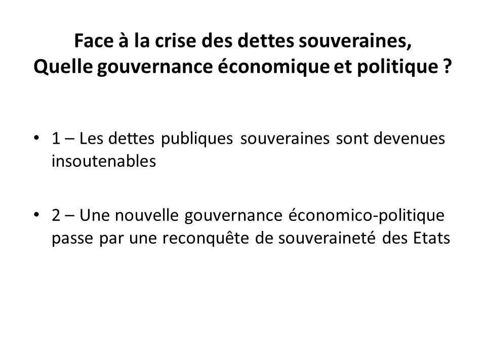 Face à la crise des dettes souveraines, Quelle gouvernance économique et politique