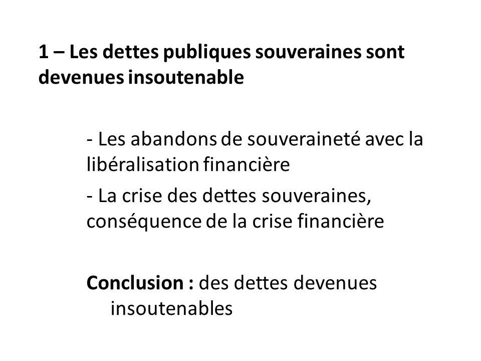 1 – Les dettes publiques souveraines sont devenues insoutenable