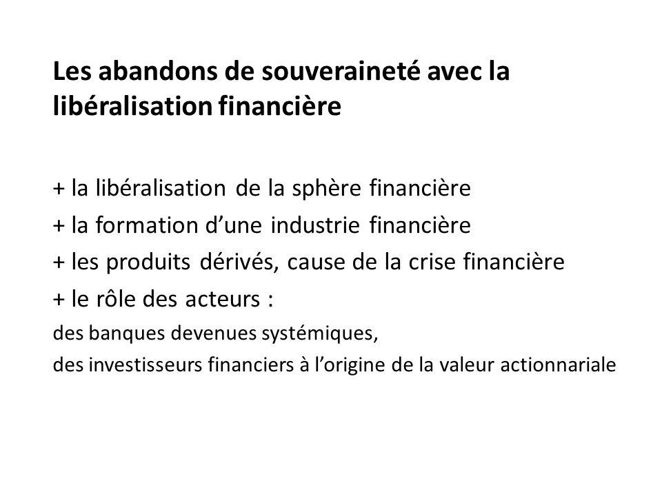 Les abandons de souveraineté avec la libéralisation financière
