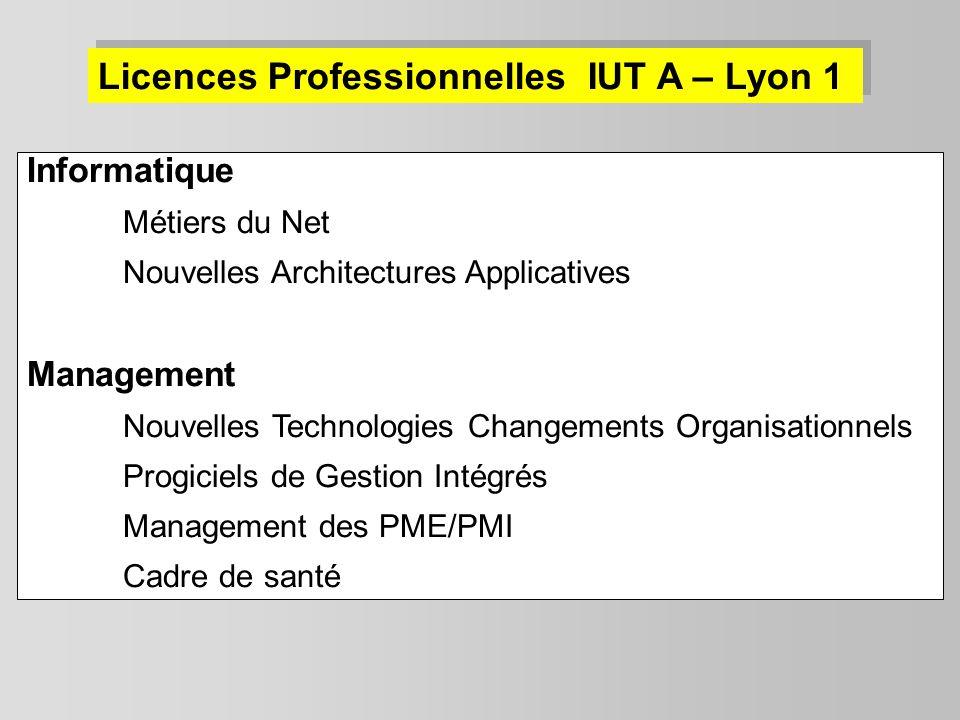 Licences Professionnelles IUT A – Lyon 1