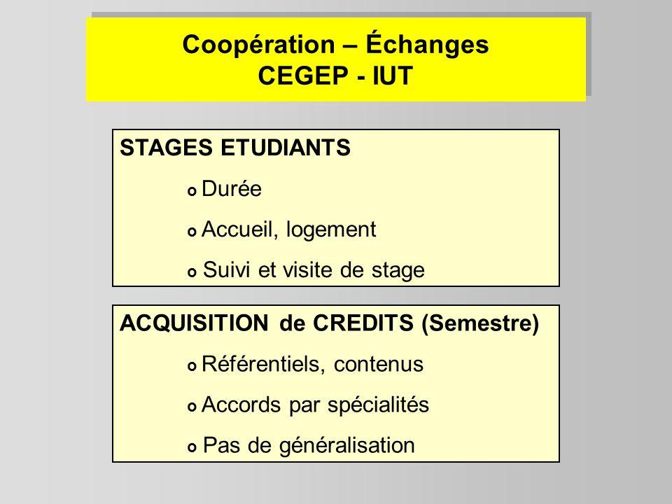 Coopération – Échanges CEGEP - IUT