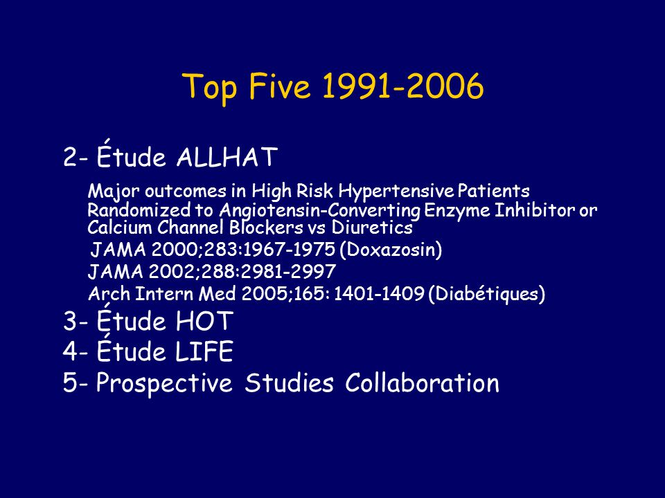 Top Five 1991-2006 2- Étude ALLHAT