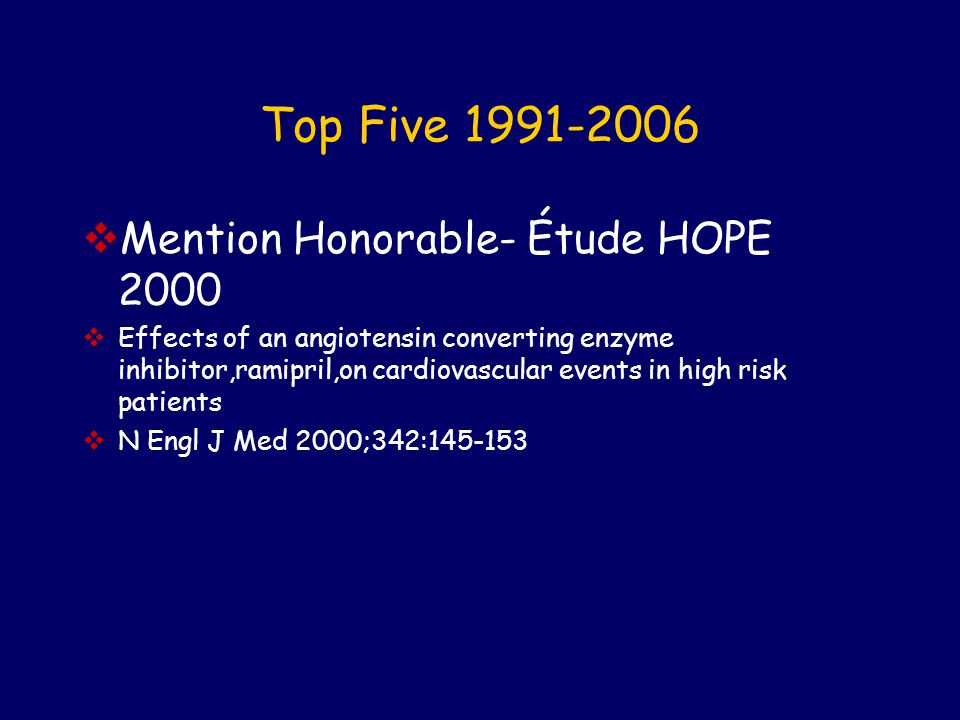 Top Five 1991-2006 Mention Honorable- Étude HOPE 2000