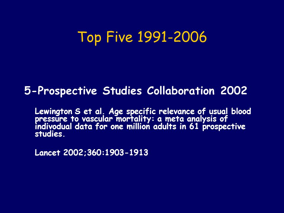 Top Five 1991-2006 5-Prospective Studies Collaboration 2002