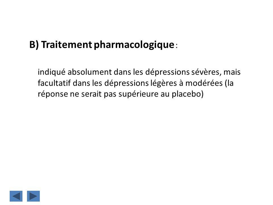 B) Traitement pharmacologique :
