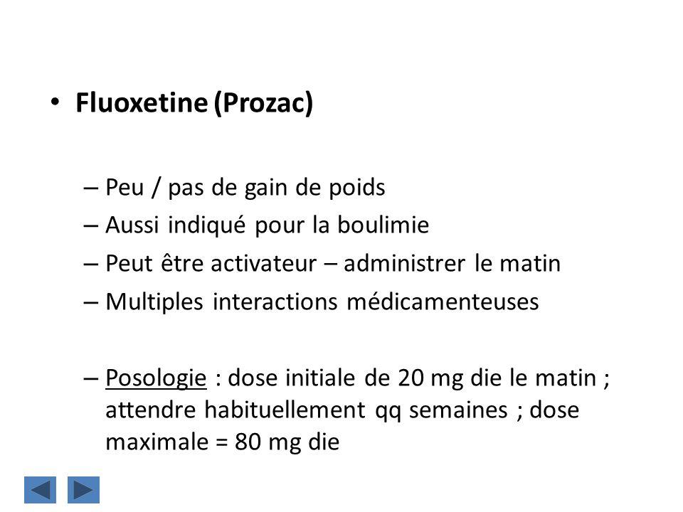 Fluoxetine (Prozac) Peu / pas de gain de poids