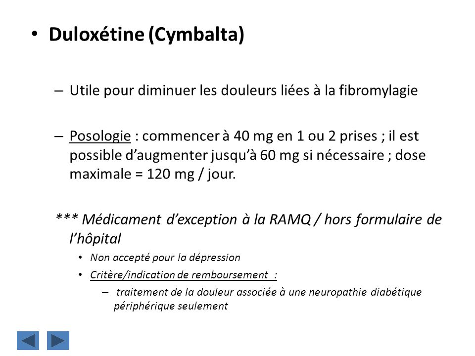 Duloxétine (Cymbalta)