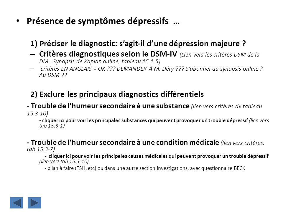 Présence de symptômes dépressifs …