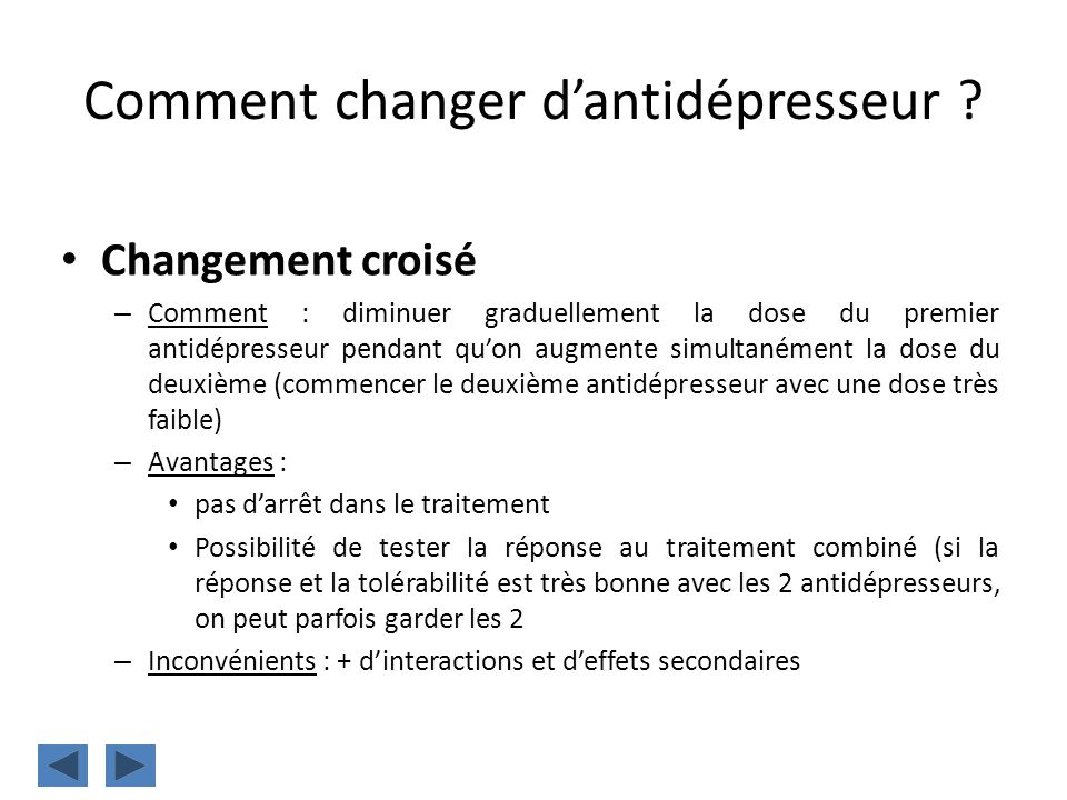 Comment changer d'antidépresseur