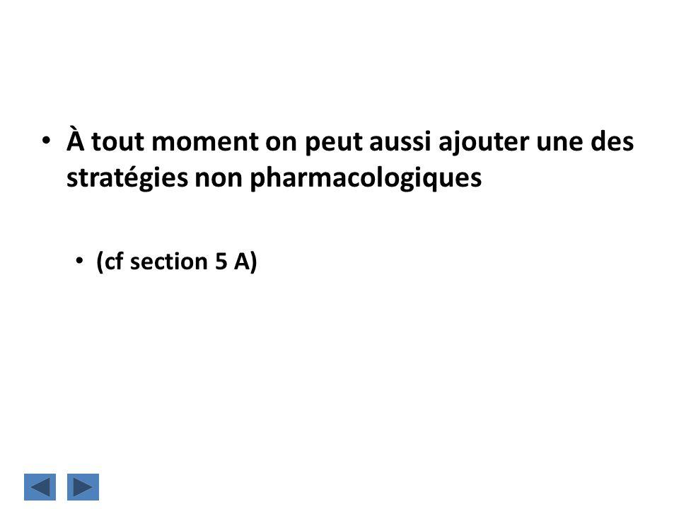À tout moment on peut aussi ajouter une des stratégies non pharmacologiques