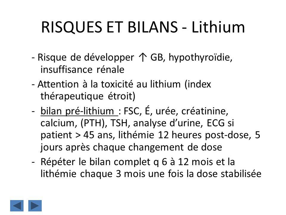 RISQUES ET BILANS - Lithium