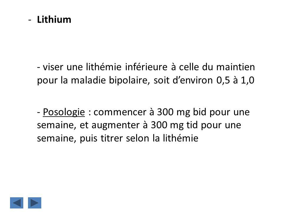 Lithium - viser une lithémie inférieure à celle du maintien pour la maladie bipolaire, soit d'environ 0,5 à 1,0.