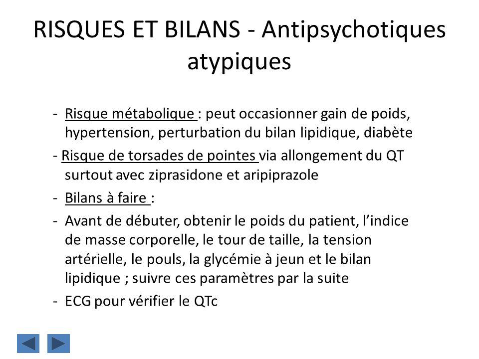 RISQUES ET BILANS - Antipsychotiques atypiques