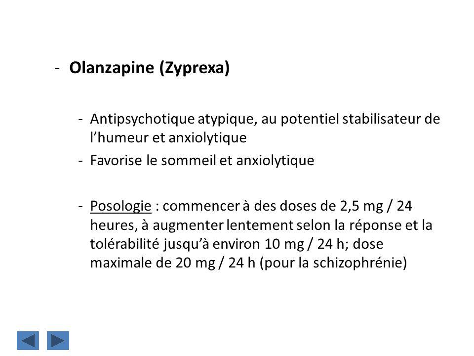 Olanzapine (Zyprexa) Antipsychotique atypique, au potentiel stabilisateur de l'humeur et anxiolytique.