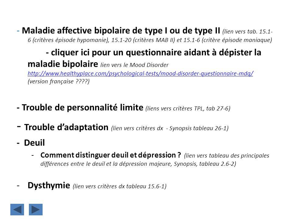 - Trouble d'adaptation (lien vers critères dx - Synopsis tableau 26-1)