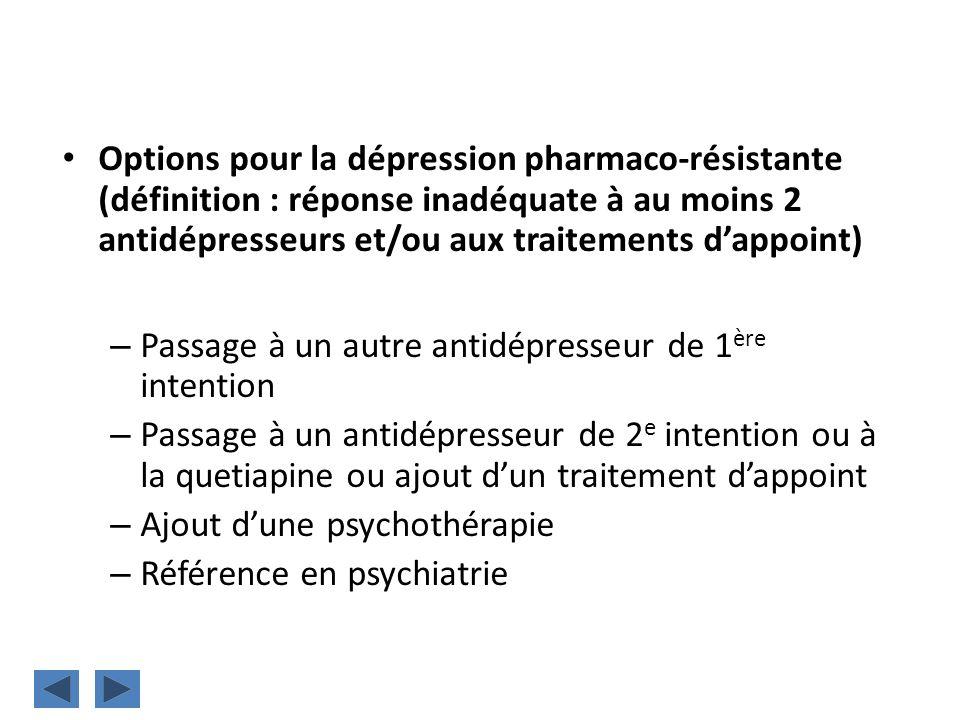 Options pour la dépression pharmaco-résistante (définition : réponse inadéquate à au moins 2 antidépresseurs et/ou aux traitements d'appoint)