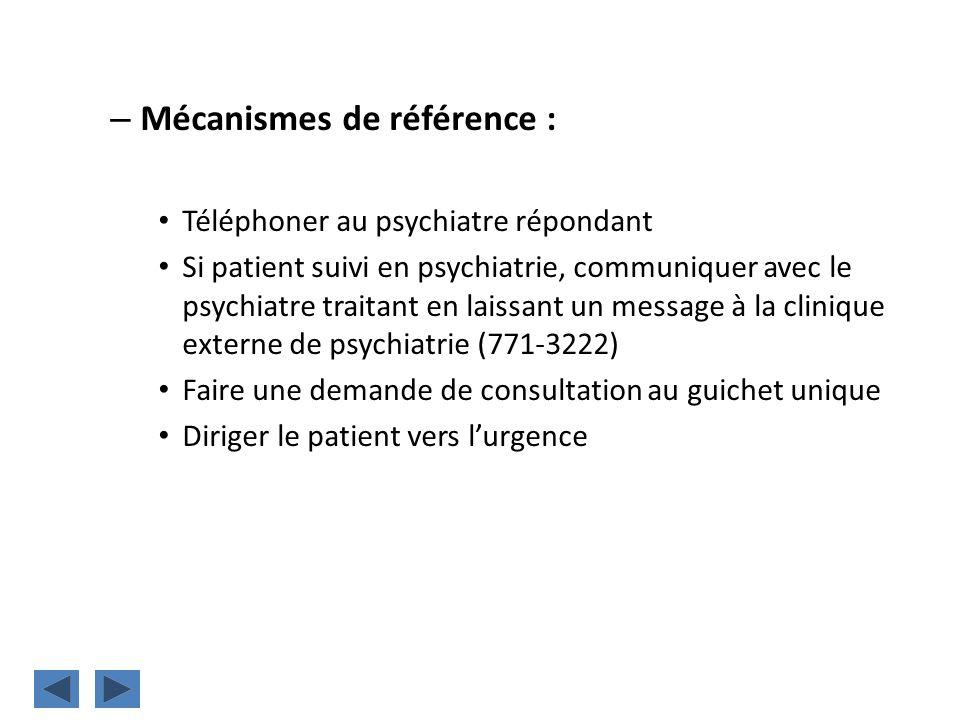 Mécanismes de référence :
