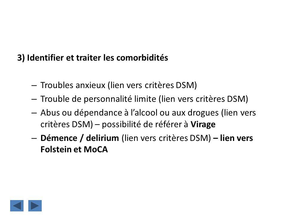 3) Identifier et traiter les comorbidités