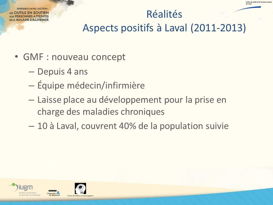 Réalités Aspects positifs à Laval (2011-2013)