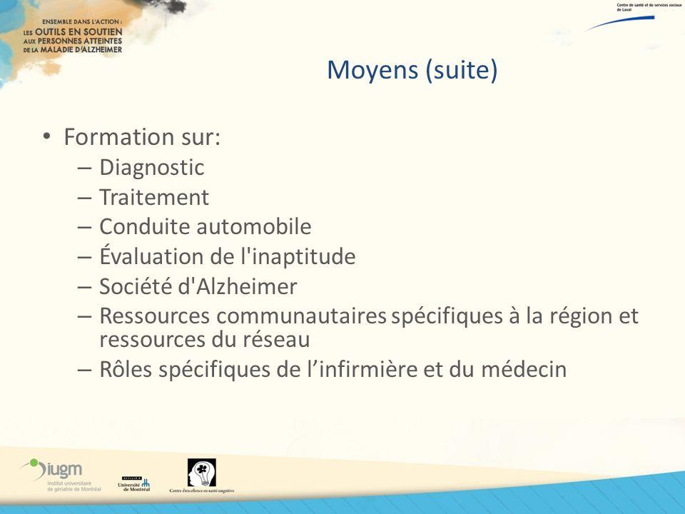 Moyens (suite) Formation sur: Diagnostic Traitement