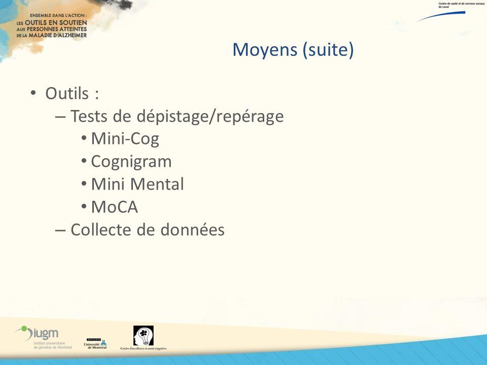 Moyens (suite) Outils : Tests de dépistage/repérage Mini-Cog Cognigram