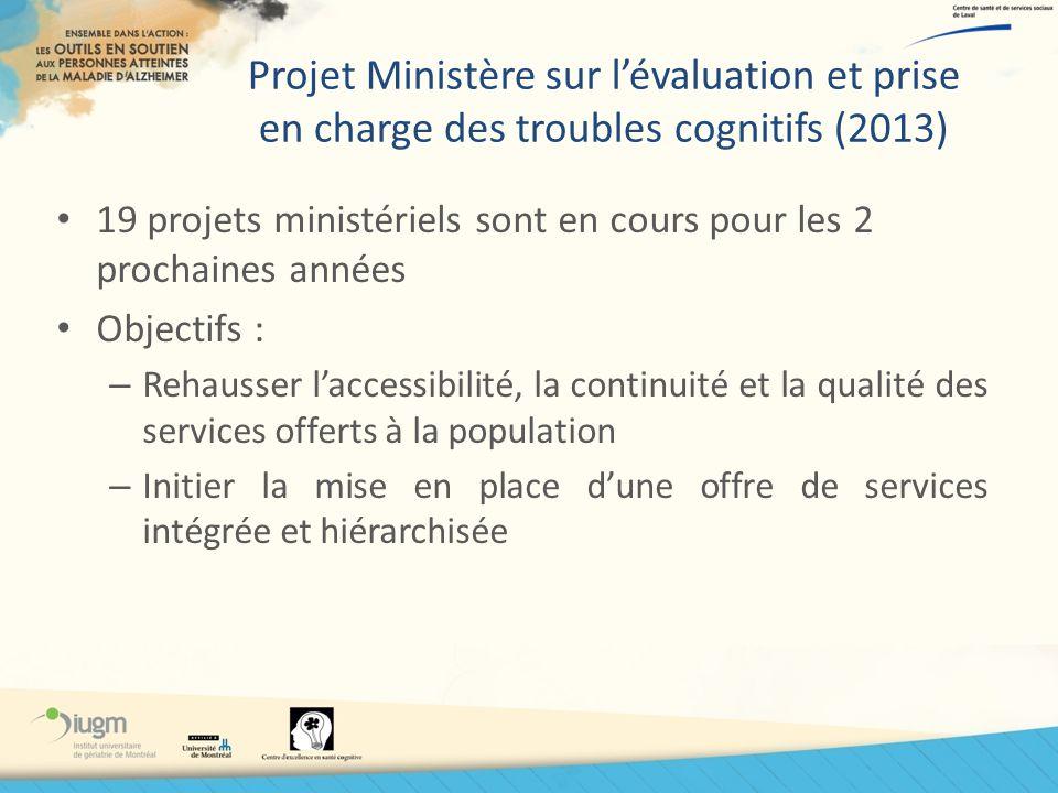 Projet Ministère sur l'évaluation et prise en charge des troubles cognitifs (2013)