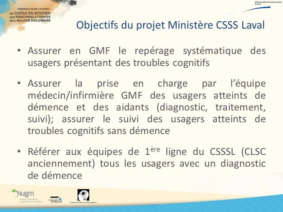 Objectifs du projet Ministère CSSS Laval