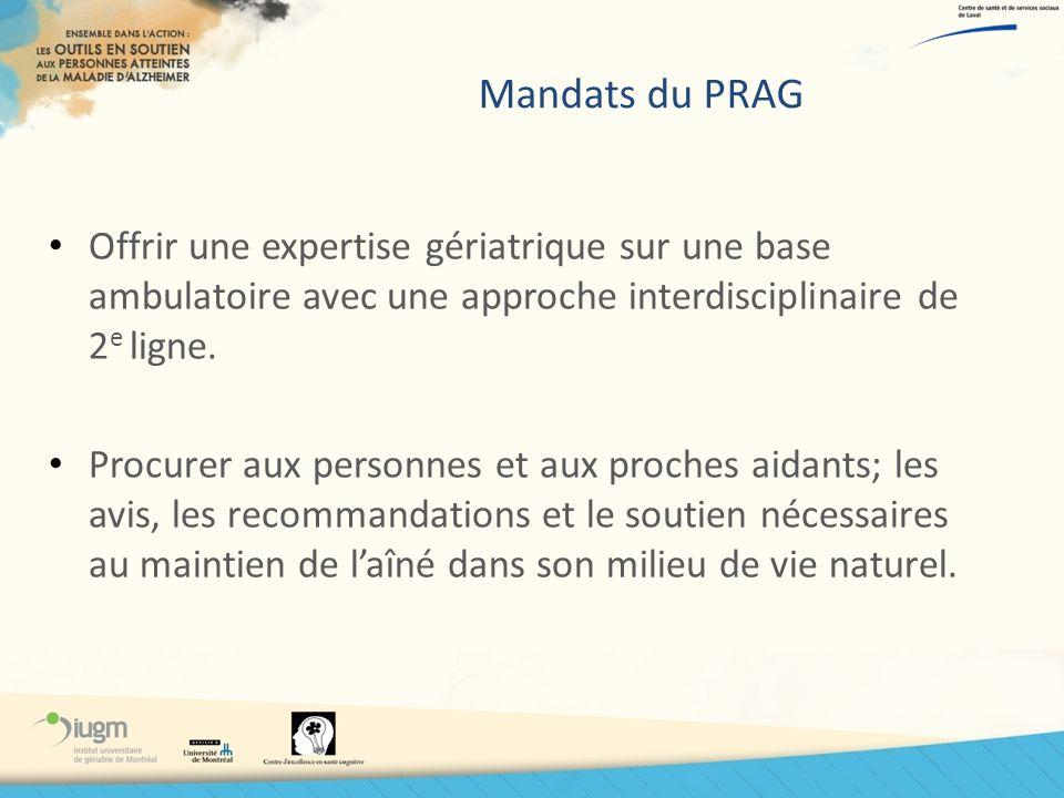 Mandats du PRAG Offrir une expertise gériatrique sur une base ambulatoire avec une approche interdisciplinaire de 2e ligne.