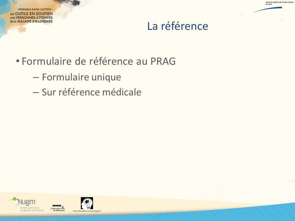 La référence Formulaire de référence au PRAG Formulaire unique