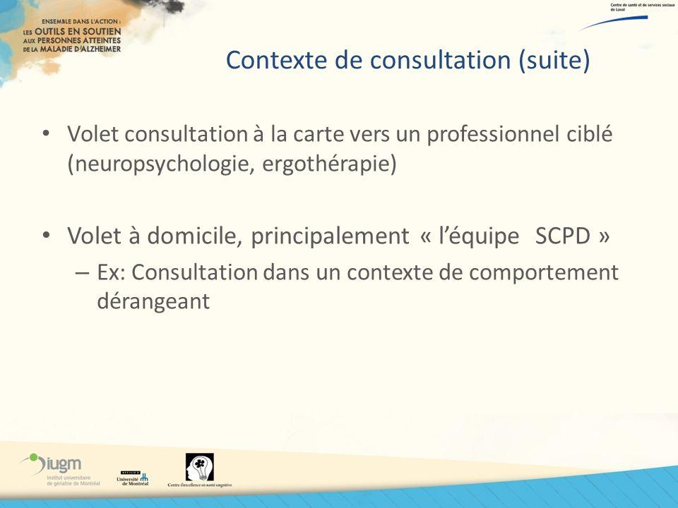 Contexte de consultation (suite)