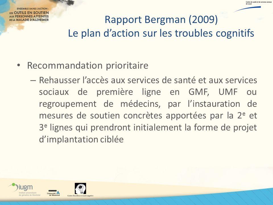 Rapport Bergman (2009) Le plan d'action sur les troubles cognitifs