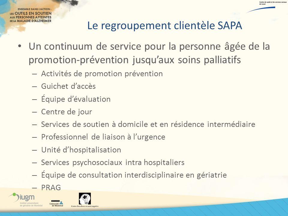 Le regroupement clientèle SAPA