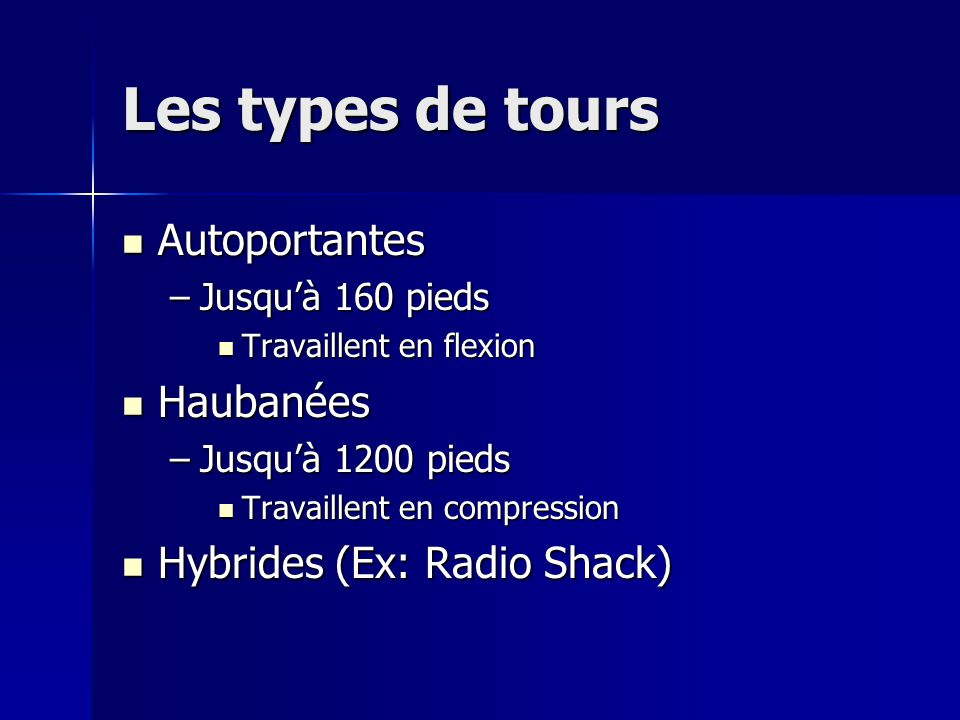 Les types de tours Autoportantes Haubanées Hybrides (Ex: Radio Shack)