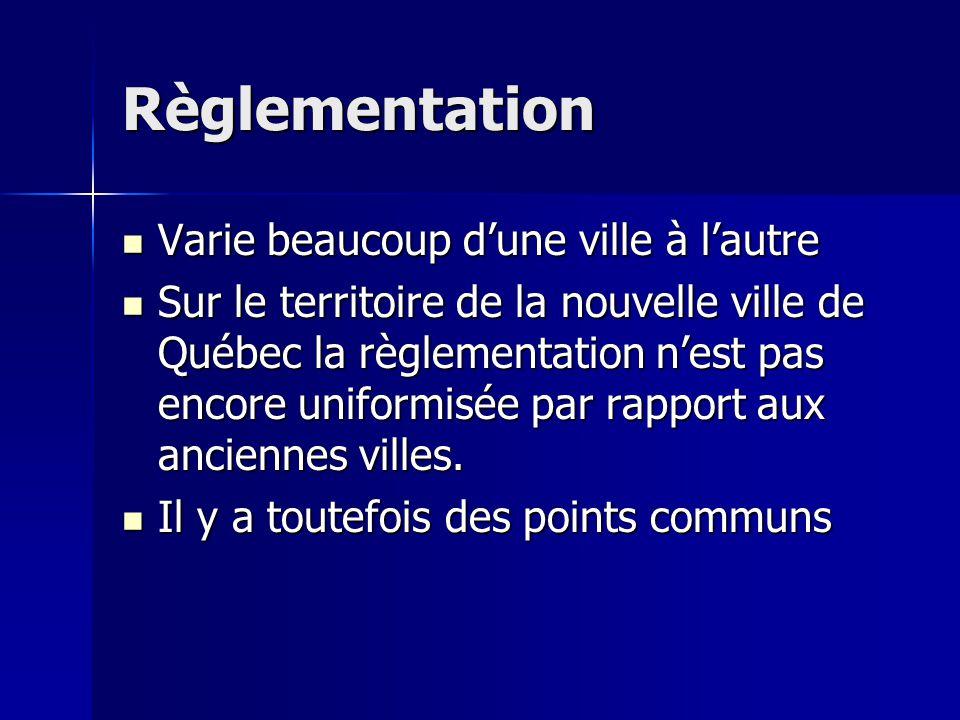 Règlementation Varie beaucoup d'une ville à l'autre