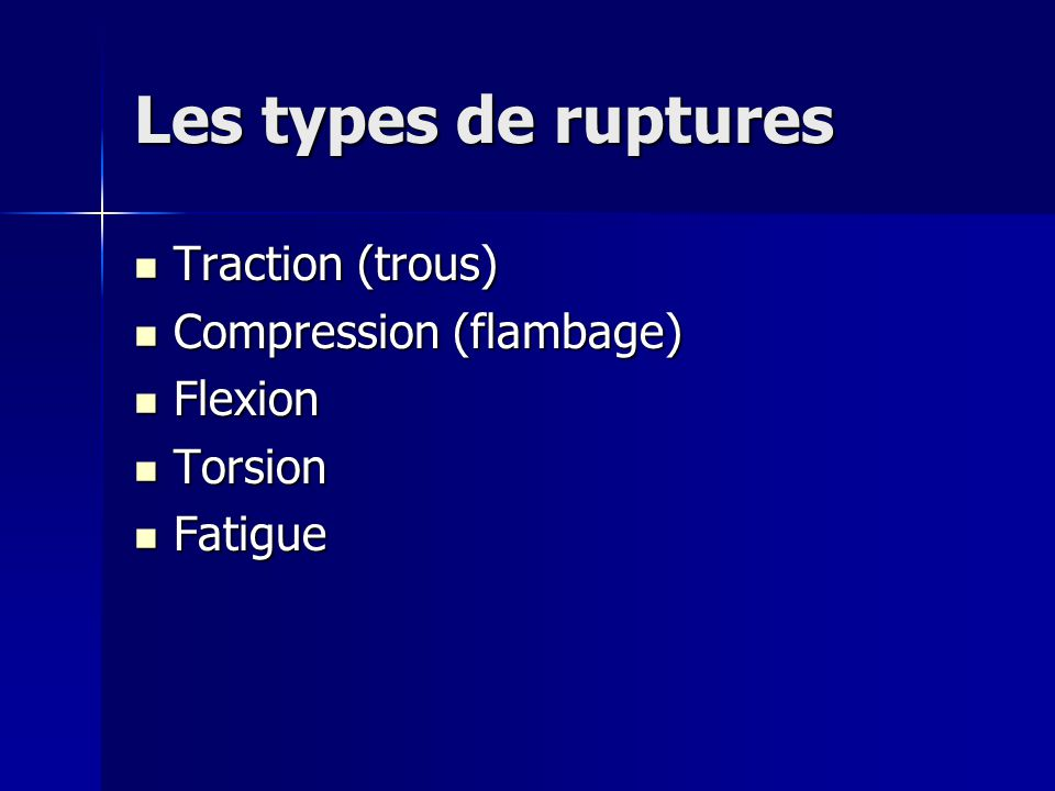 Les types de ruptures Traction (trous) Compression (flambage) Flexion