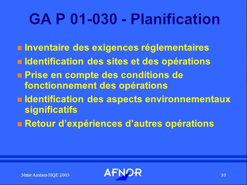 GA P 01-030 - Planification Inventaire des exigences réglementaires