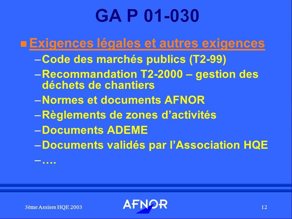 GA P 01-030 Exigences légales et autres exigences