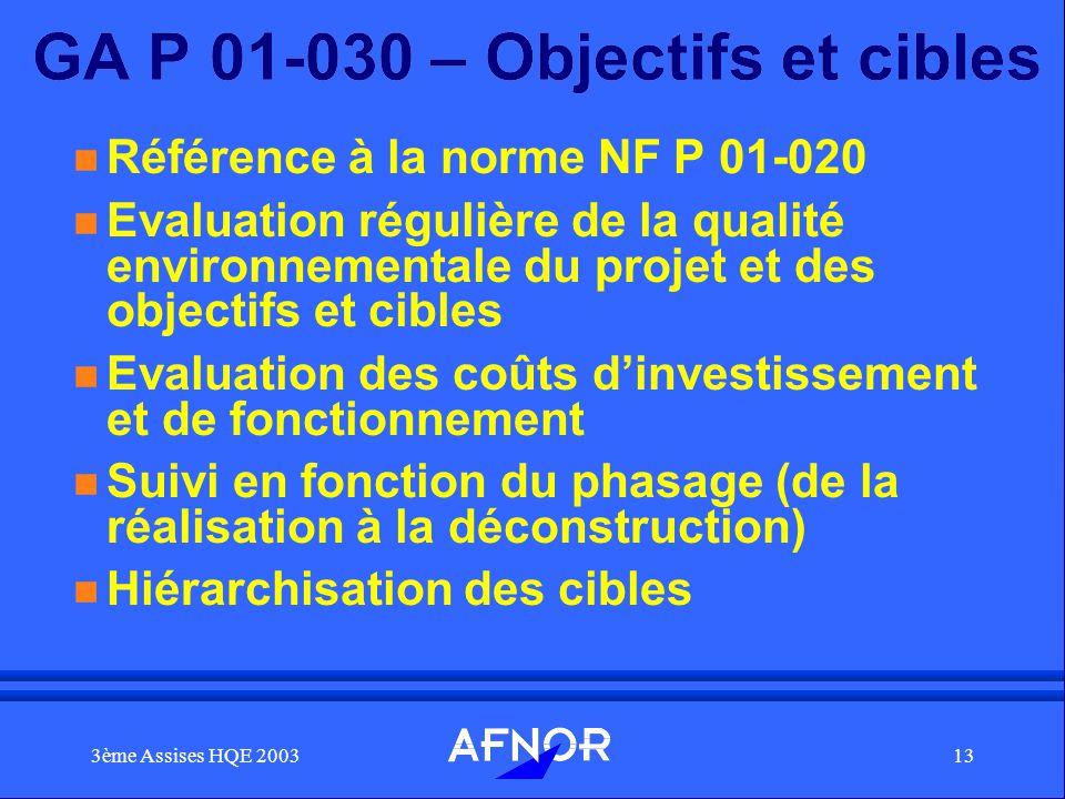 GA P 01-030 – Objectifs et cibles