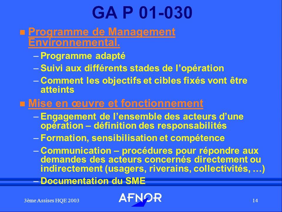 GA P 01-030 Programme de Management Environnemental.