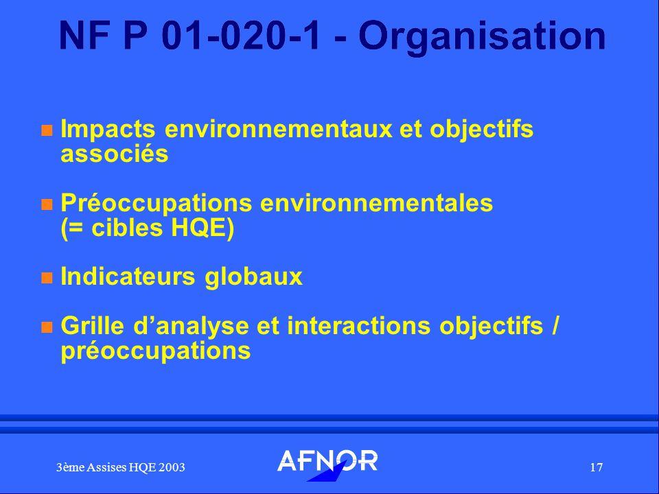 NF P 01-020-1 - Organisation Impacts environnementaux et objectifs associés. Préoccupations environnementales (= cibles HQE)