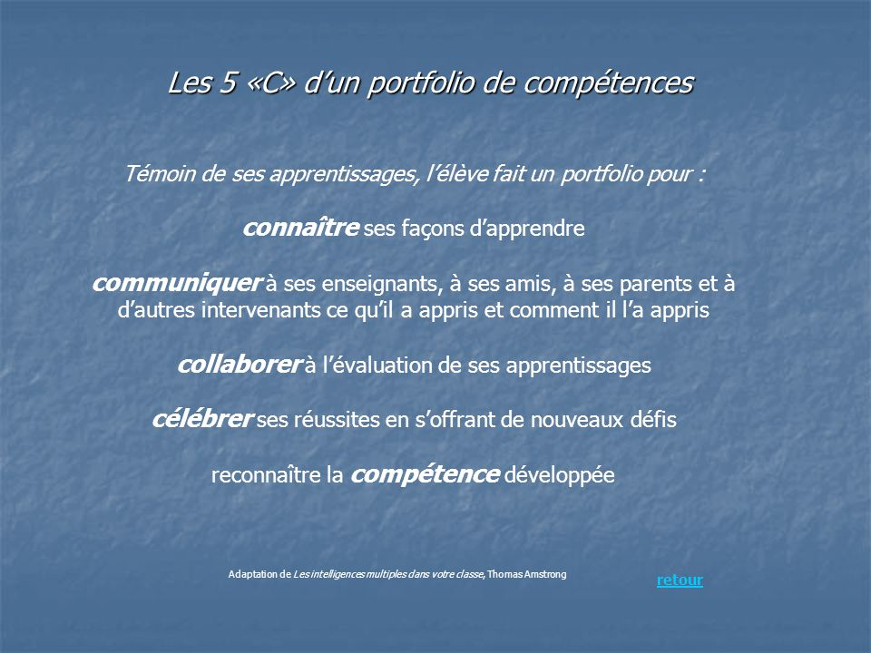 Les 5 «C» d'un portfolio de compétences