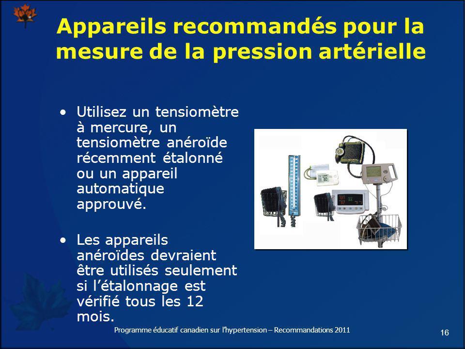 Appareils recommandés pour la mesure de la pression artérielle