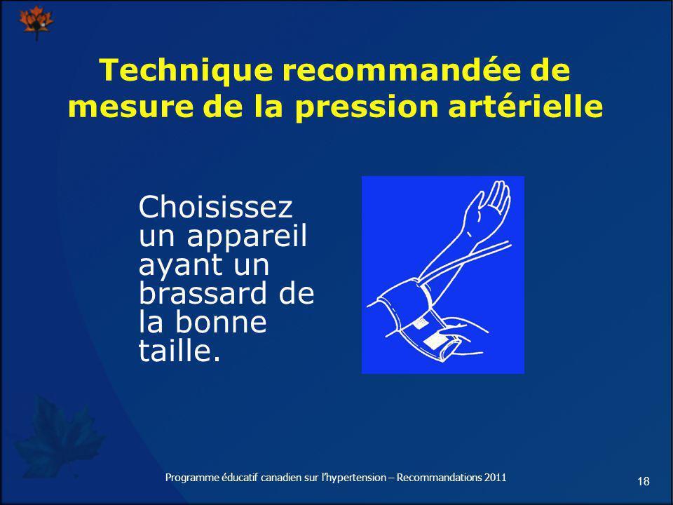 Technique recommandée de mesure de la pression artérielle