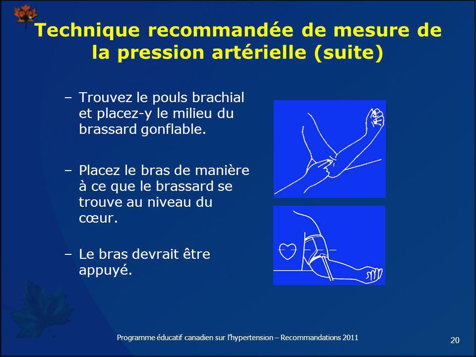 Technique recommandée de mesure de la pression artérielle (suite)