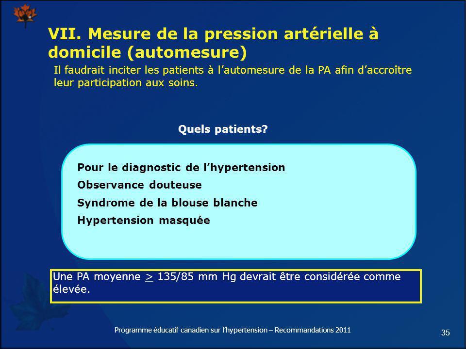 VII. Mesure de la pression artérielle à domicile (automesure)