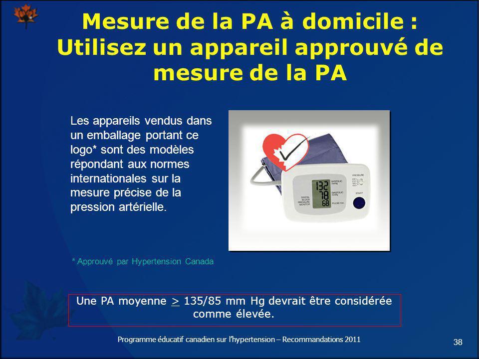 Mesure de la PA à domicile : Utilisez un appareil approuvé de mesure de la PA